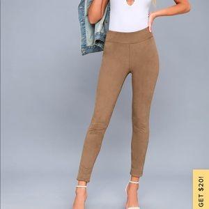 Lulu's Rogue faux suede taupe leggings medium